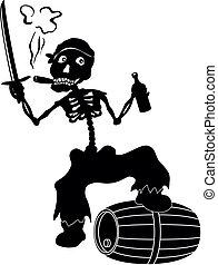 roger, esqueleto, negro, siluetas, alegre
