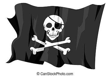 roger, vrolijk, -, pirates', vlag