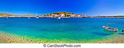 Rogoznica coast and beach panoramic view, village in...