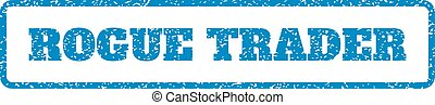 Blue rubber seal stamp with Rogue Trader text. Vector tag inside rounded rectangular shape. Grunge design and dust texture for watermark labels. Horizontal sticker on a white background.