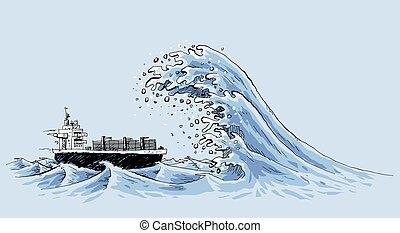 Rogue Wave on Ship - A freighter ship in the ocean is about...