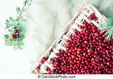 roh, beeren, lingonberry, tisch, herbst
