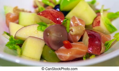 roh, lachs, sashimi, mit, fruchtsalat