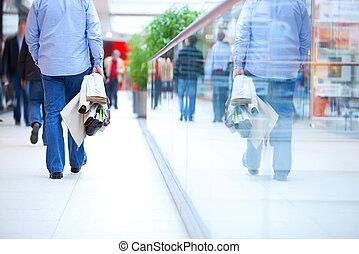rohanás, bevásárol mall, emberek