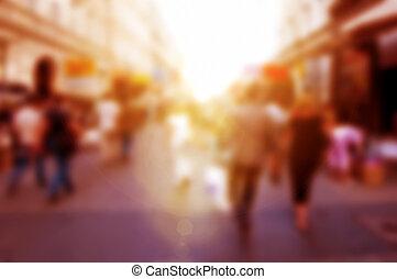 rohanás, emberek, defocused., háttér, utca., elhomályosít