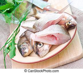 roher fisch, platte