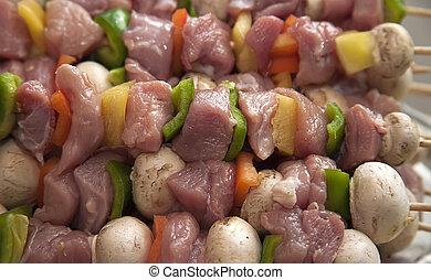 rohkost-gemüse, kebabs, fleisch