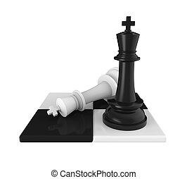 roi, échecs, échec mat, morceaux