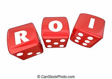 roi, вернуть, на, инвестиции, два, прокатка, игральная кость, буквы, 3d, иллюстрация