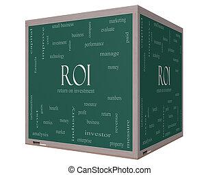 roi, 単語, 雲, 概念, 上に, a, 3d, 立方体, 黒板