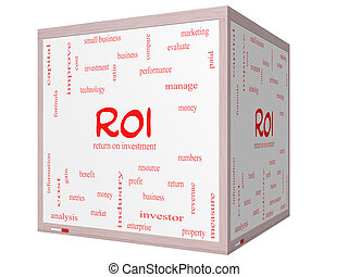roi, 単語, 雲, 概念, 上に, a, 3d, 立方体, whiteboard