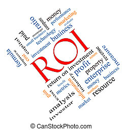 roi, 概念, 単語, 雲, 斜め
