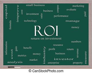 roi, 概念, 単語, 雲, 黒板