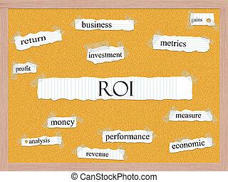 roi, 概念,  corkboard, 単語