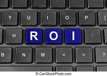roi, 또는, 투자 수익, 낱말, 통하고 있는, 키보드