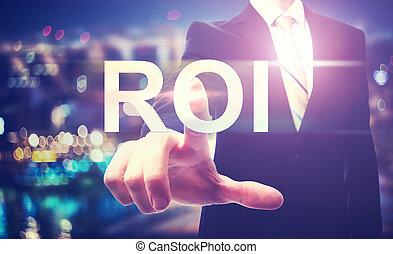 roi, affärsman, (return, pekande, investment)