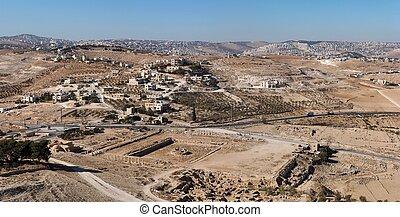 roi, ancien, herodion, palais, herod, arabe, endroit, ...