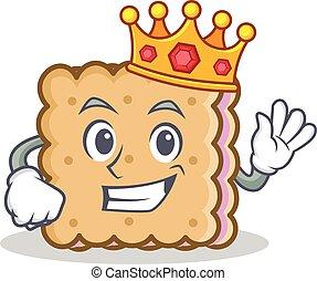 roi, biscuit, caractère, style, dessin animé