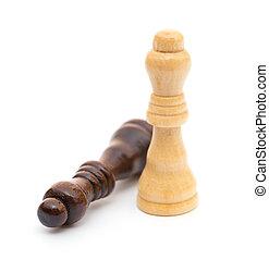 roi, blanc, échecs, fond