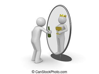 roi, -, bouteille, miroir, narcissist, homme