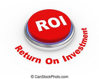 roi button - 3d illustration of roi (return on investment)...