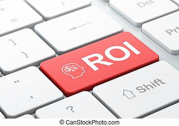 roi, cabeza, finanzas, empresa / negocio, teclado, concept:
