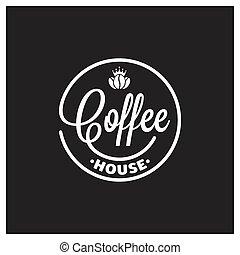 roi, café, arrière-plan noir, logo