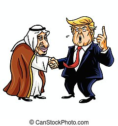 roi, caricature, atout, salman., donald, octobre, 30, éditorial, 2017, dessin animé, illustration.