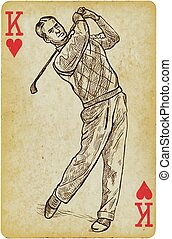roi, carte, drawing., vendange, -, freehand, golfeur, jouer...