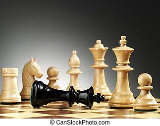 roi, checkmated., jeu, échecs, vient, end.