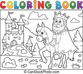 roi, cheval, coloration, thème, livre