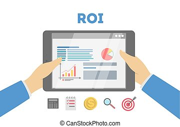 ROI concept illustration. Idea of marketing and investment.