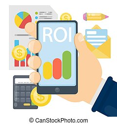 ROI concept illustration. Samrtphone with data and...