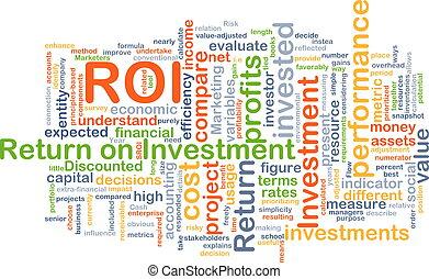 roi, concept, retour, investissement, fond