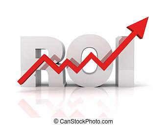 roi, concepto, regreso, inversión, ilustración
