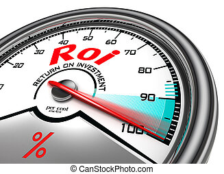 roi conceptual meter - return on investment per cent meter...