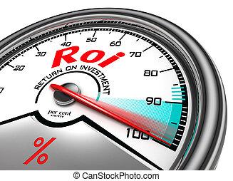 roi conceptual meter - return on investment per cent meter...