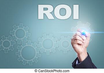roi, concetto, schermo, virtuale, uomo affari, disegno
