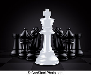 roi, contre, morceaux, noir, échecs, blanc dehors, stand