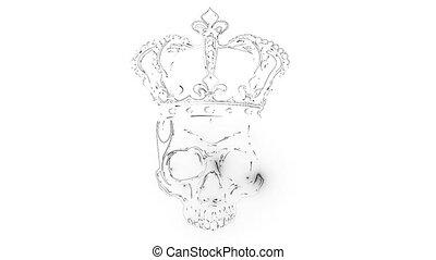 roi, couronne, élément, conception, crâne