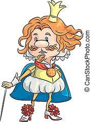 roi, couronne or, triste, rigolote, vecteur, dessin animé