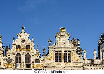 roi, cuadrados, vistas, belgium., casas, histórico, lugar,...
