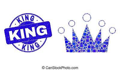 roi, détresse, couronne, mosaïque, timbre, bleu