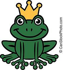 roi, dessin animé, grenouille