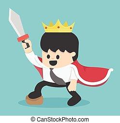 roi, dessin animé, homme affaires