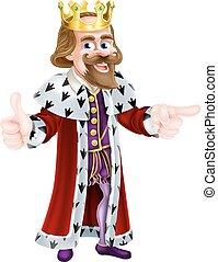 roi, dessin animé, personne