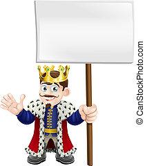 roi, dessin animé, tenue, signe