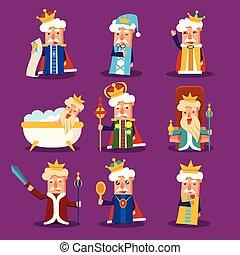 roi, ensemble, dessin animé, illustration