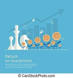 roi, finansiell, strategisk, tillväxt, resning, administration, investering, marknaden, uppe., stil, profit., concept., ökning, lägenhet, retur, finans, affär, planerande, illustration., framgång, sträckande, pilar, vektor