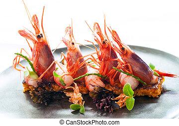 roi, fruits mer, croquant, crevettes roses, rice.